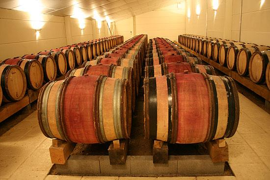 Red Cheverny wines in barrel