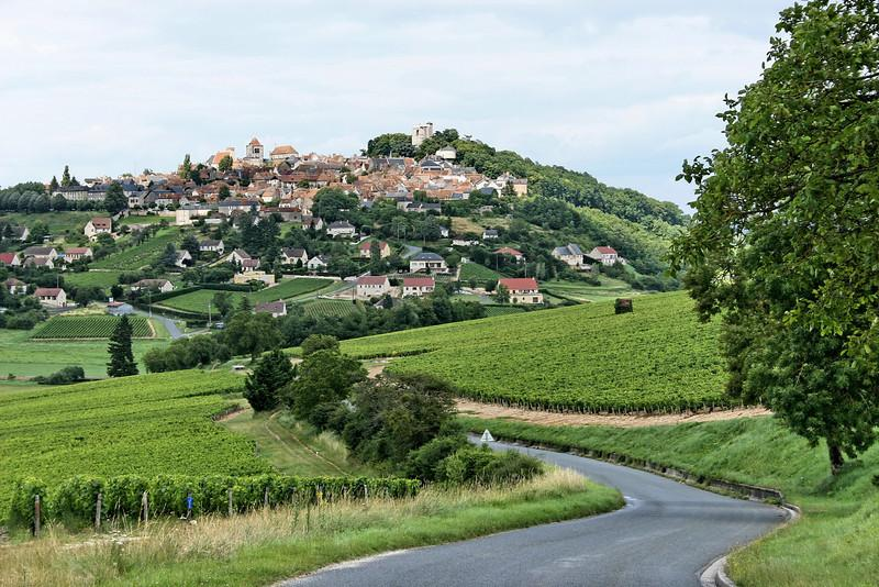 Sancerre vineyard and village
